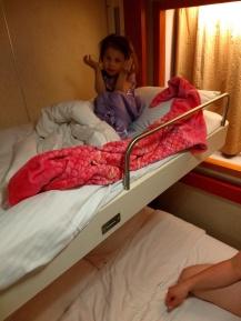 """Violet in her """"hotel bed"""""""